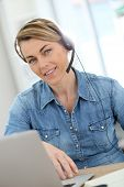 pic of stressless  - Active woman teleworking from home - JPG