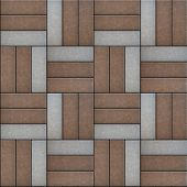 stock photo of paving  - Brown and Gray Rectangles Paved - JPG