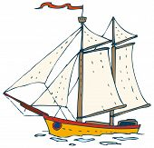 foto of brigantine  - Sailing Ship with Flag isolated on white background - JPG
