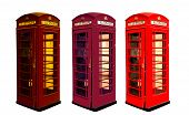 stock photo of phone-booth  - Classic British color phone booths in London UK - JPG