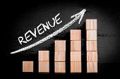 picture of graph  - Word Revenue on ascending arrow above bar graph of Wooden small cubes isolated on black background - JPG