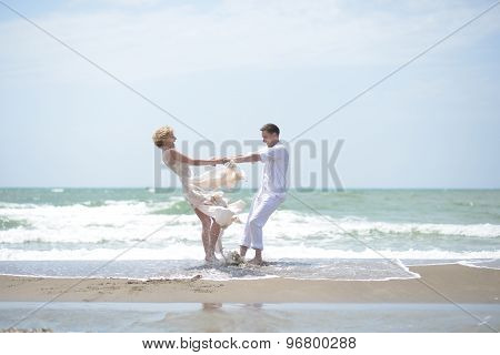Beautiful Wedding Couple On Beach