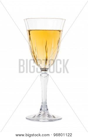 White wine in crystal glass isolated in white