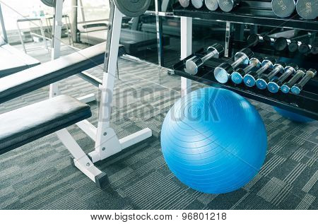 Fitness Gym With Ball, Dumbell And Other Equipment
