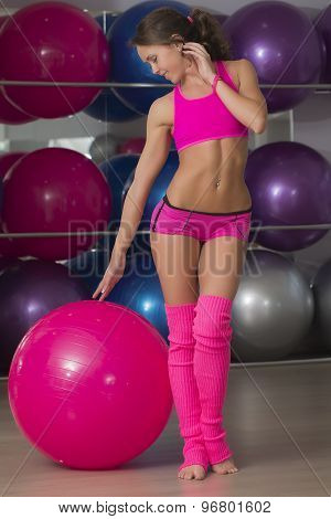Pretty Fitness Girt With Ball