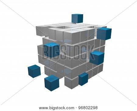 Organization Concept With 3D Cubes Isolated