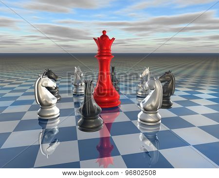 Fight, Conflict, Leader And Team Concept With Chess Figurines