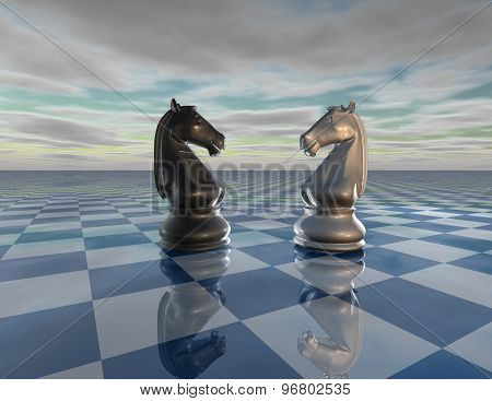 Abstract Surreal Background With Chess Horses, Chessboard And Sky, Challenge Concept