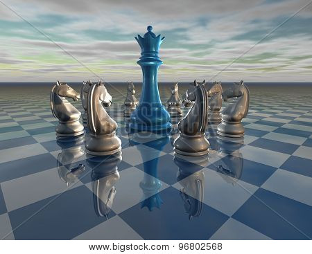 Chess Background With Chess Queen And Horses