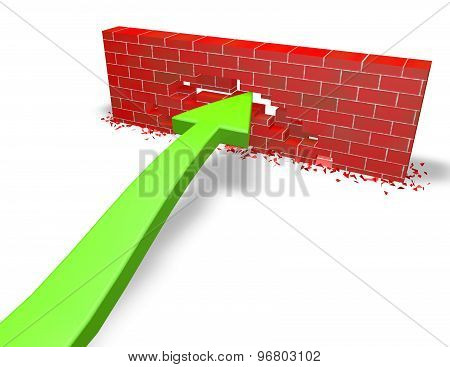 Persistence, Challenge Concept With Green Arrow And  Wall
