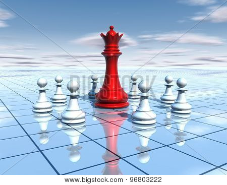 Chess Board With Red Chess Queen And Team Of White Pawns, Blue Sky And Floor, Teamwor Abstract Idea