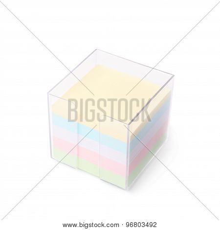 Pile of colorful sticker paper notes isolated