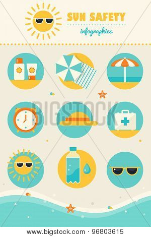 Sun and Beach Safety Rules Infographics Icons Set. Skin Protection and Health Care in Summer