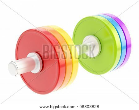 Adjustable colorful dumbbell isolated