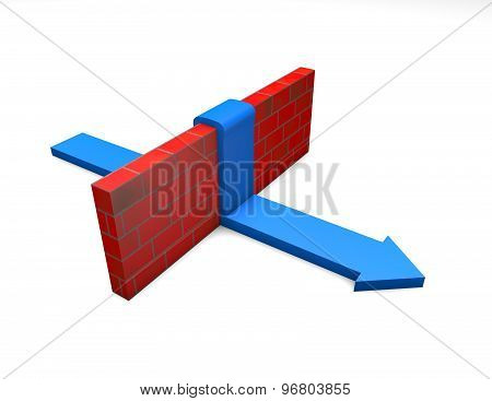 Win Through Obstacles To Gain A Purpose Abstract Concept With Blue Arrow