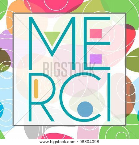 Merci Text Colorful Background