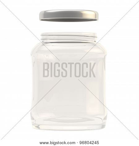 Metal cap over a glass jar isolated