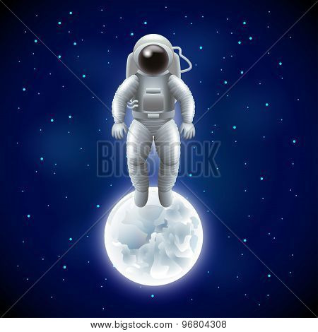Astronaut And Moon In Space Vector Background