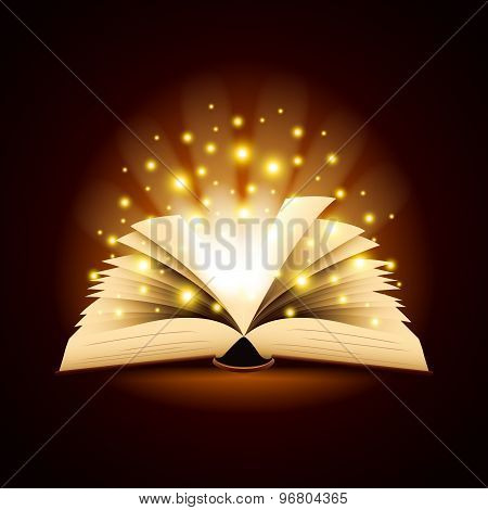 Old Opened Book With Magic Light Vector Background