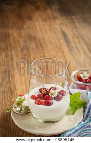 Healthy breakfast cup of fresh milk yoghurt with wild strawberries