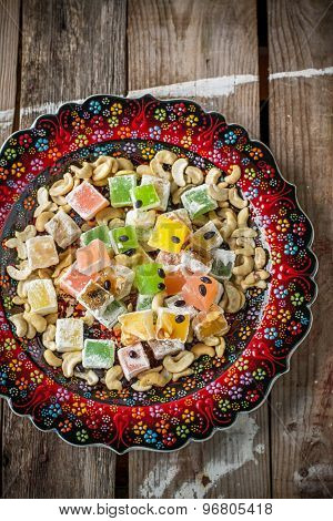 Turkish delight with colorful chocolate seeds and cashew nuts