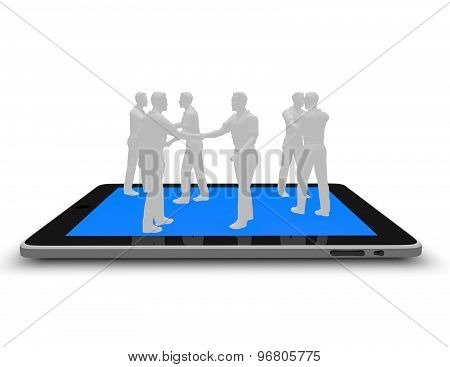 On Line Business Meeting, Mobile Conference Abstract Concept With Tablet And People