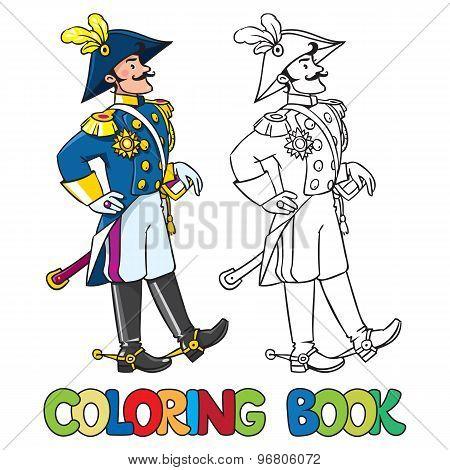 Handsome general or officer. Coloring book