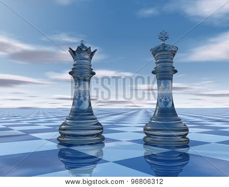 Abstraction Blue Background With Chess King And Queen Pieces