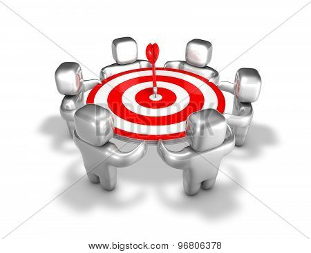Team Reaching The Aim Abstract Idea With Team And Darts