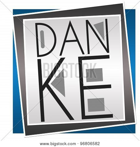 Danke Text Blue Grey Blocks