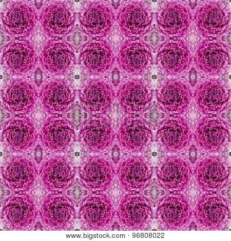 Ornamental Decorative Cabbage Seamless Pattern Background