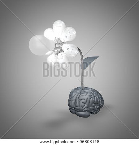 Abstract Illustration With Flower Made Of Bulbs And Brain