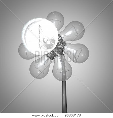 Electricity Concept With Bulbs Isolated On Grey Background
