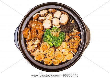 Chinese styled Abalone mixed dish. Also known as Poon Choy in Chinese. Isolated in white.