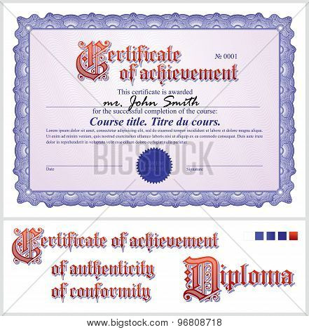Blue certificate. Template. Horizontal.