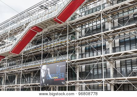 Facade With Escalators Of The Famous Centre Pompidou In Paris, France
