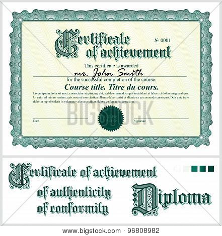 Green certificate. Template. Horizontal.