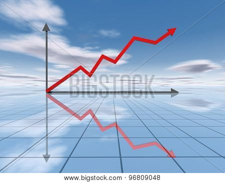 Business Graph And Reflective Background With Sky And Clouds