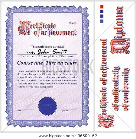 Blue certificate. Template. Vertical. Additional design elements