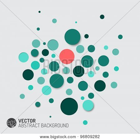 Vector dark abstract background with teal circles and 3d effects