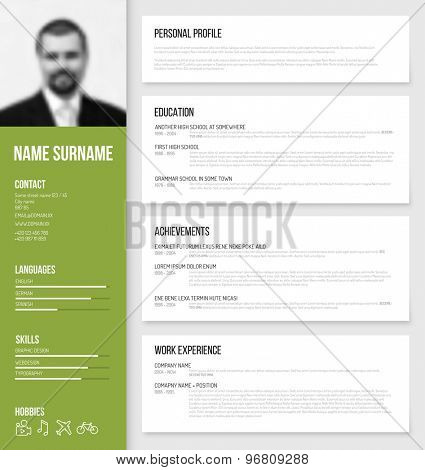 Vector minimalist cv / resume template design with profile photo - green version