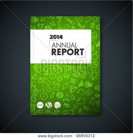 Modern Vector green abstract brochure / book / flyer design template with application icons