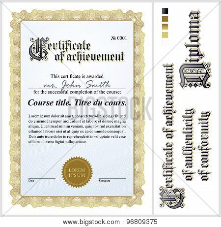 Gold certificate. Template. Vertical. Additional design elements