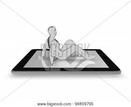 3D Mobile Technology Concept With Man Sitting On Tablet