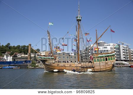 Bristol, England - July 19: The Replica Sail Ship The Matthew Ferries Passengers Around Bristol Harb
