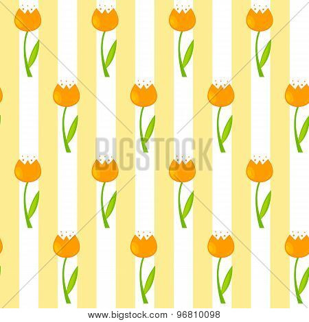Floral Seamless Pattern Background with Tulips Vector Illustrati