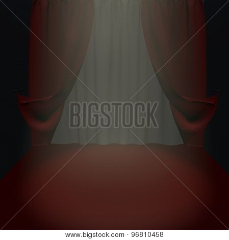 Empty Theater Stage With Red Curtain