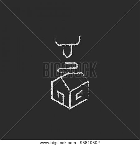 Futuristic 3D printer hand drawn in chalk on a blackboard vector white icon on a black background