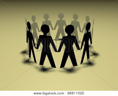Paper People Chain, Team Standing In Circle With Shadow