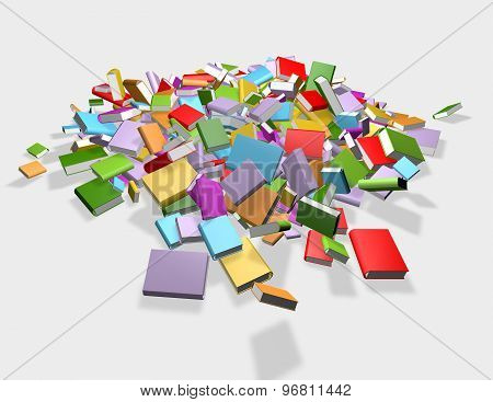 Falling Colorful Books Isolated, Library, Literature And Education Concept